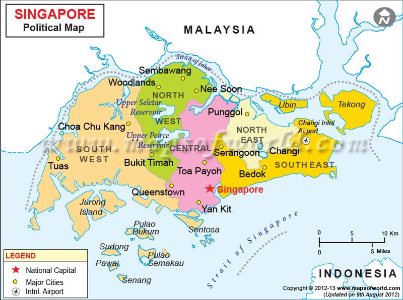 Карта административного деления Сингапура