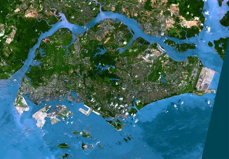 Фотография Сингапура со спутника
