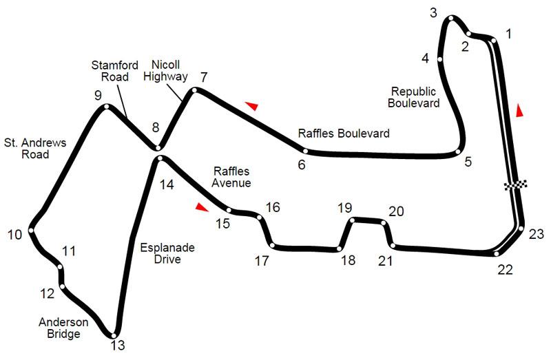 План-схема трассы Marina Bay Street Circuit