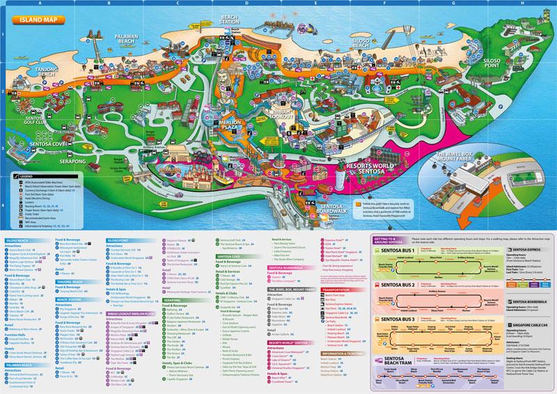 Карта достопримечательностей острова Сентоза